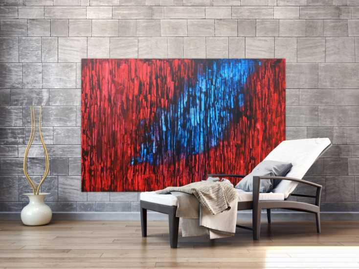 #1271 Abstraktes Acrylbild modern in rot blau schwarz expressionistisch 120x180cm von Alex Zerr