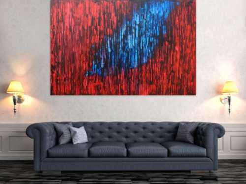 Abstraktes Acrylbild modern in rot blau schwarz expressionistisch