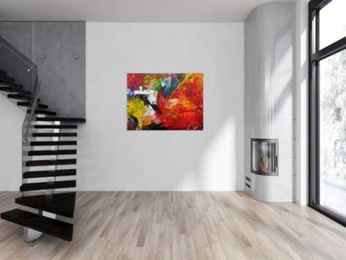 Abtraktes Acrylbild Action Painting modern zeitgenössisch bunt