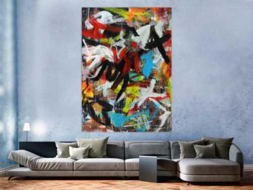 Abstraktes Acrylbild expressionistisches Gemälde moderne Kunst hochformat
