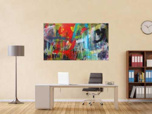 Abstraktes Gemälde Acryl moderne Kunst auf Leinwand bunt handgemalt Action Painting