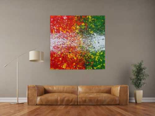Abstraktes Acrylbild modernes Gemälde orange grün weiß quadratisch Action Painting
