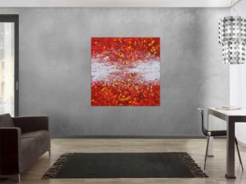 Abstraktes Acrylbild orange rot weiß gelb Action Painting quadratisch