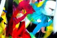 Detailaufnahme Expressionistische Malerei buntes abstraktes Acrylbild Zeitgenössisch modern Informel