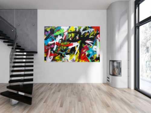 Expressionistische Malerei buntes abstraktes Acrylbild Zeitgenössisch modern Informel
