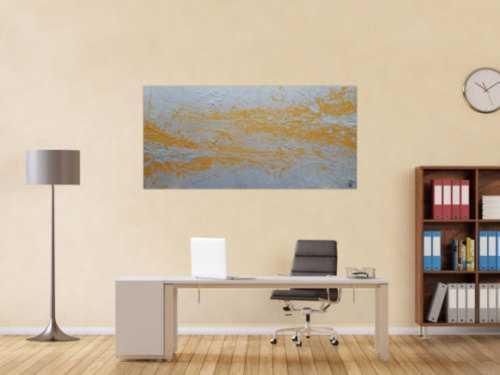 Abstraktes Acrylbild gold und silber Action Painting expressionistisch modern