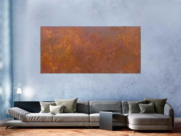 #1281 Abstraktes Bild aus echtem Rost auf Leinwand moderne Kunst abstrakt ... 100x200cm von Alex Zerr