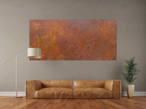 Abstraktes Bild aus echtem Rost auf Leinwand moderne Kunst abstrakt Expressionistisch