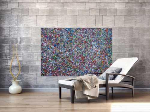 Abstraktes Acrylbild Splash Art expressionistisch Action painting zeitgenössisch auf Leinwand