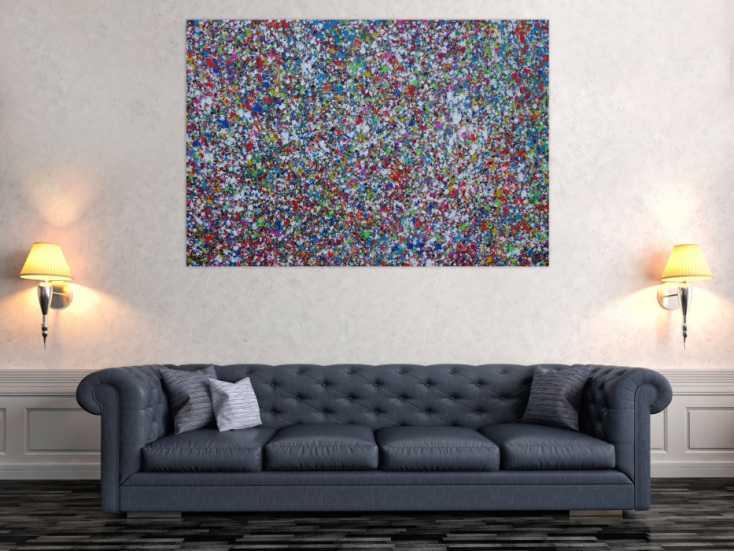 #1282 Abstraktes Acrylbild Splash Art expressionistisch Action painting ... 100x150cm von Alex Zerr