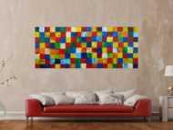 Abstraktes Acrylbild Fälchenmalerei abstrakt Expressionistisch moderne Kunst auf Leinwand