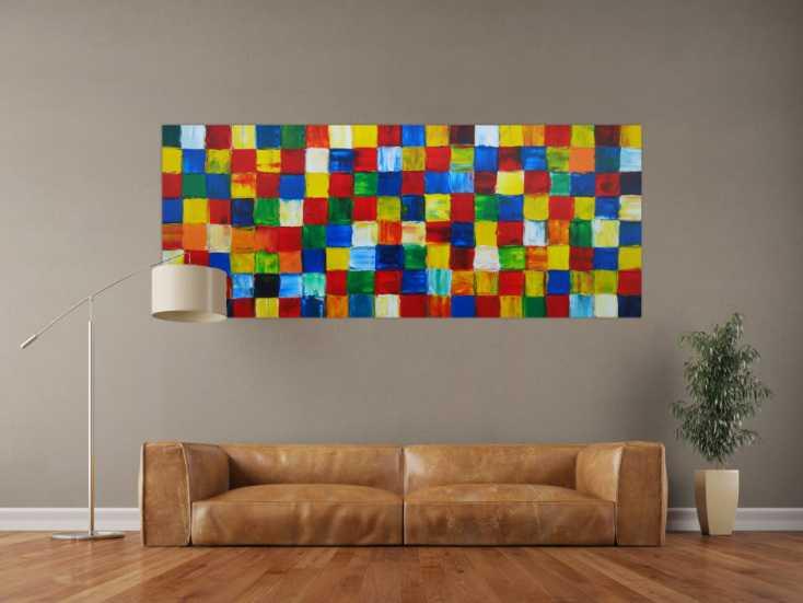 #1283 Abstraktes Acrylbild Fälchenmalerei abstrakt Expressionistisch ... 80x200cm von Alex Zerr