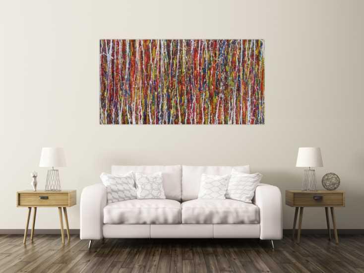 #1284 Abstraktes Acrylbild sehr bunt Action Painting modern ... 90x180cm von Alex Zerr