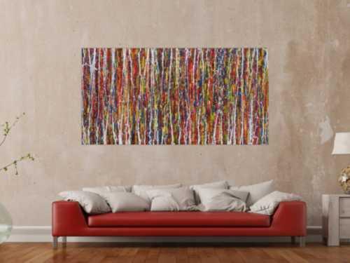 Abstraktes Acrylbild sehr bunt Action Painting modern expressionistisch