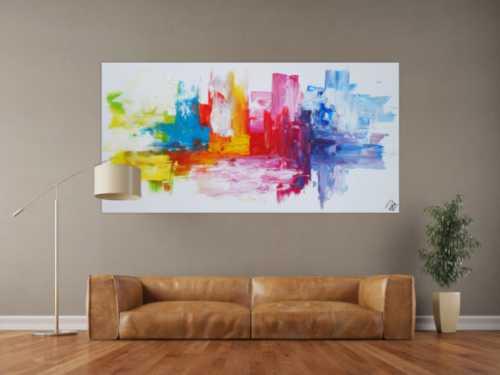 Abstraktes Acrylbild sehr bunt auf weißem Hintergrund Spachteltechnik zeitgenössisch expressionistisch