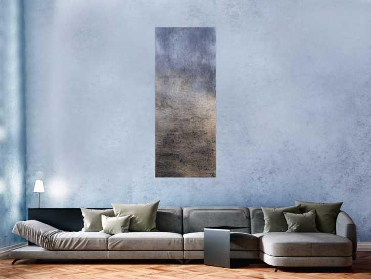 #1286 Abstraktes Acrylbild gold und silber mit grober Struktur Mischtechnik ... 150x60cm von Alex Zerr
