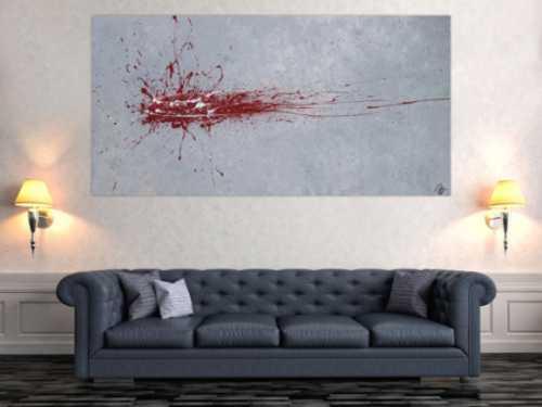 Abstraktes Acrylbild Action Painting Splash Art rot und weiß auf grau expressionistisch modern