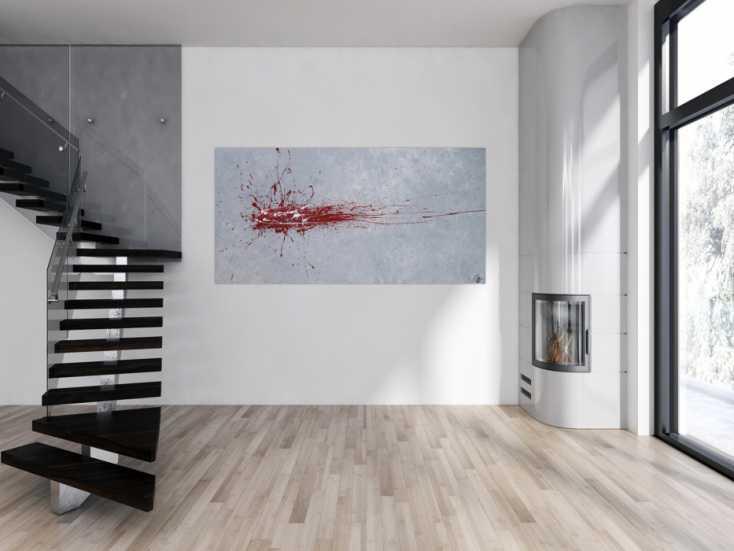 #1287 Abstraktes Acrylbild Action Painting Splash Art rot und weiß auf ... 100x200cm von Alex Zerr