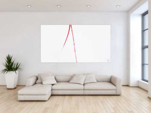 Abstraktes Acrylbild minimalistisch roter Strich auf weißem Hintergrund modern schlicht expressionistisch