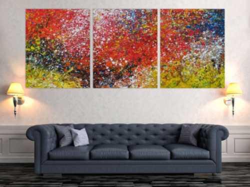 Abstraktes Acrylbild Triptychon groß sehr bunt Action Painting expressionistisch moderne Malerei