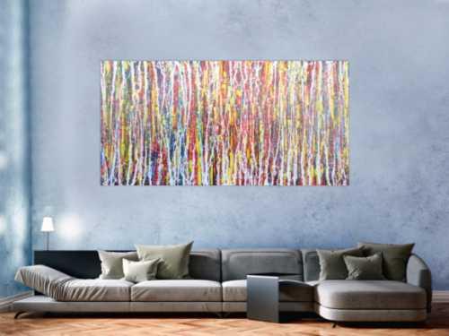 Abstraktes Acrylbild sehr bunt Action Painting Modern Art zeitgenössisch