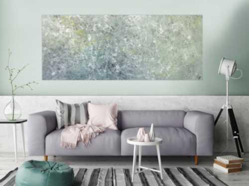Abstraktes Acrylbild oliv grau weiß gelb zeitgenössisch modern