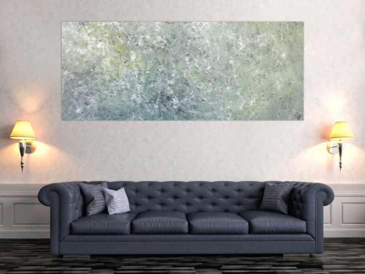 #1294 Abstraktes Acrylbild oliv grau weiß gelb zeitgenössisch modern 80x200cm von Alex Zerr