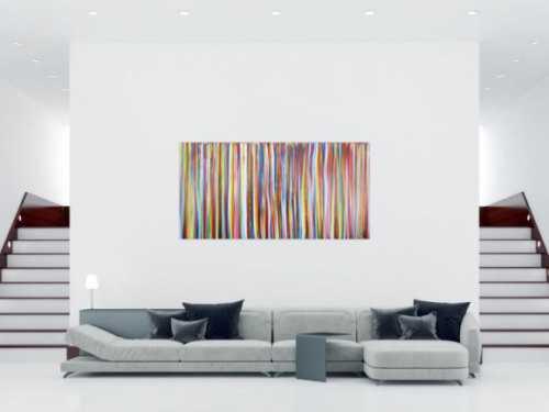 Abstraktes Acrylbild bunte Streifen sehr modern zeitgenössisch Modern Art