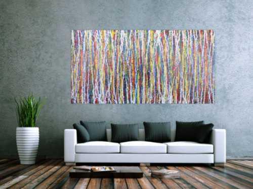 Abstraktes Acrylbild Action Painting sehr modern zeitgenössisch bunte Farben mit weiß