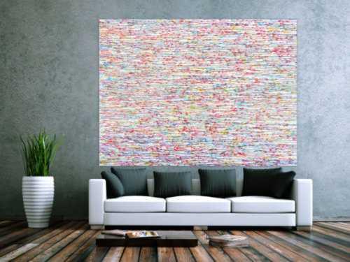 Abstraktes Acrylbild bunte Tropfen auf weißem Grund sehr modern zeitgenössisch