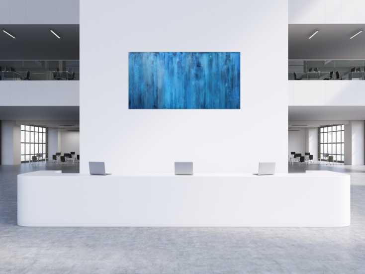 #1298 Abstraktes Acrylbild blau modern zeitgenössisch 100x200cm von Alex Zerr