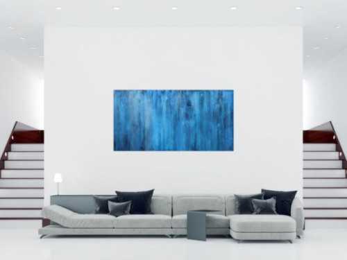 Abstraktes Acrylbild blau modern zeitgenössisch