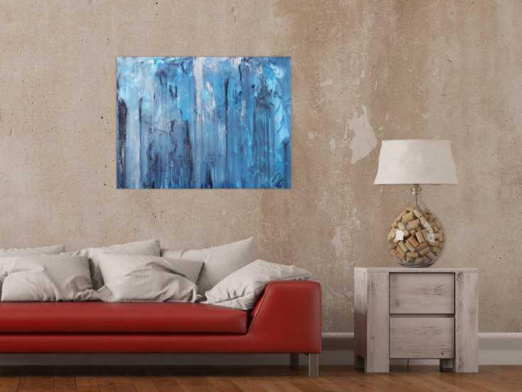 #1299 Abstraktes Acrylbild blaue Farben modern zeitgenössisch 60x80cm von Alex Zerr