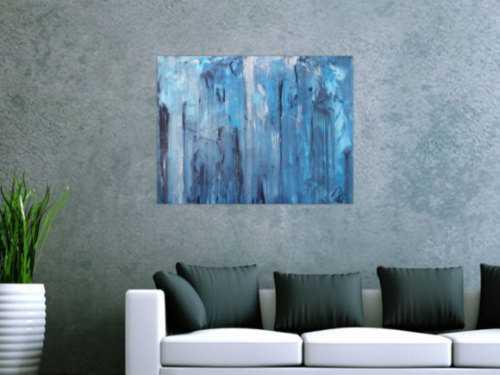 Abstraktes Acrylbild blaue Farben modern zeitgenössisch