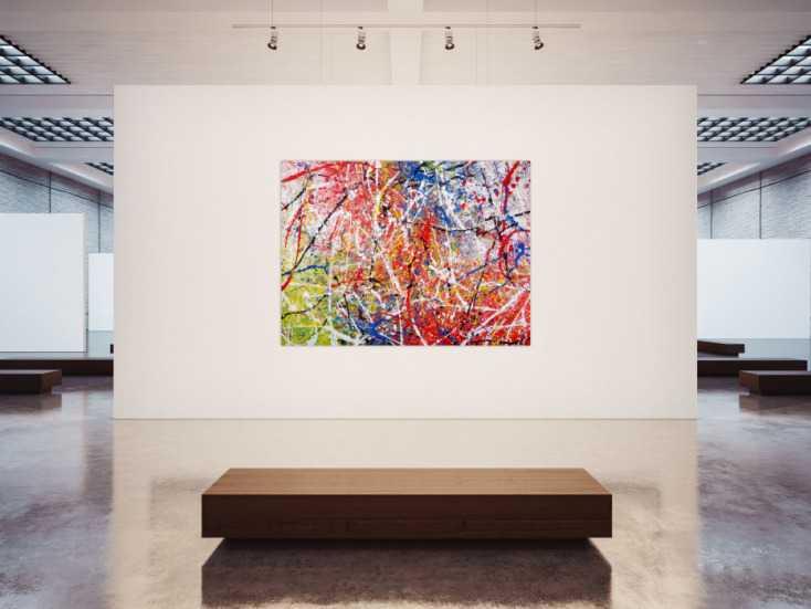 #1300 Abstraktes Acrylbild Action Painting sehr bunt modern rot blau grün ... 150x200cm von Alex Zerr
