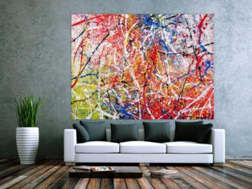 Abstraktes Acrylbild Action Painting sehr bunt modern rot blau grün weiß