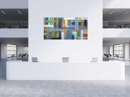 Abstraktes Acrylbild sehr modern bunte Flächen und Streifen zeitgenössische Flächenmalerei