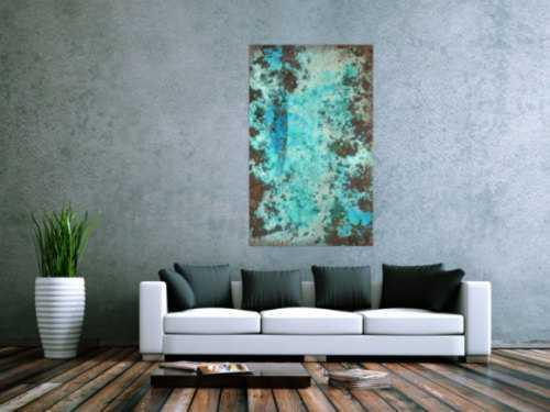 Abstraktes Bild Patina echte Kupferpatina türkis echtes Kupfer und Patina auf Leinwand