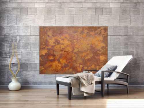 Abstraktes Bild aus echtem Rost Action Painting zeitgenössisch Rostige Fläche Modern Art