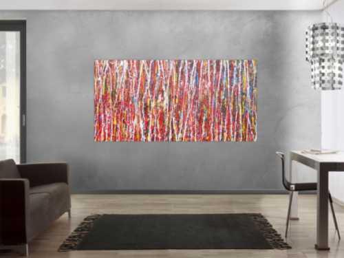 Abstraktes Acrylbild Action Painting bunt modern rot weiße Streifen zeitgenössisch