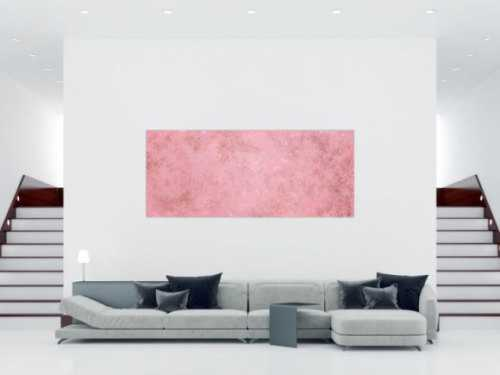 Abstraktes Acrylbild rosa Farben und echter Rost schlicht modern zeitgenössisch expressionistisch