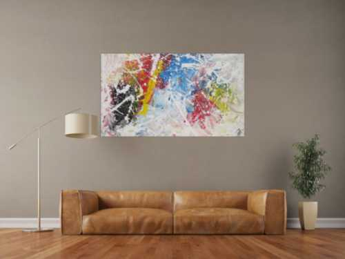 Abstraktes Acrylbild Action Painting sehr bunt weiß rot blau gelb zeitgenössisch