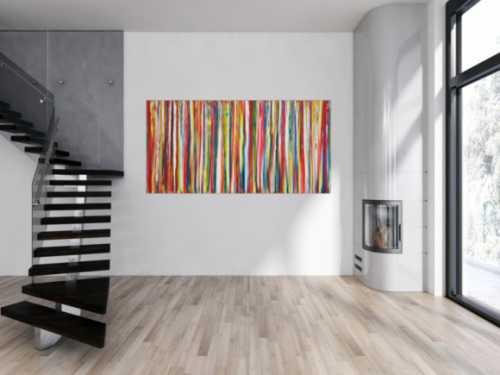 Abstraktes Acrylbild bunte Streifen zeitgenössisch Modern Art