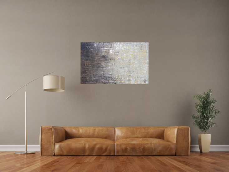 #1311 Abstraktes Acrylbild zeitgenössisch modern schwarz grau weiß braun 60x100cm von Alex Zerr