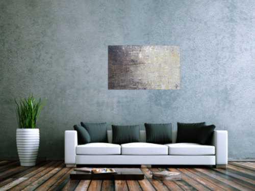 Abstraktes Acrylbild zeitgenössisch modern schwarz grau weiß braun