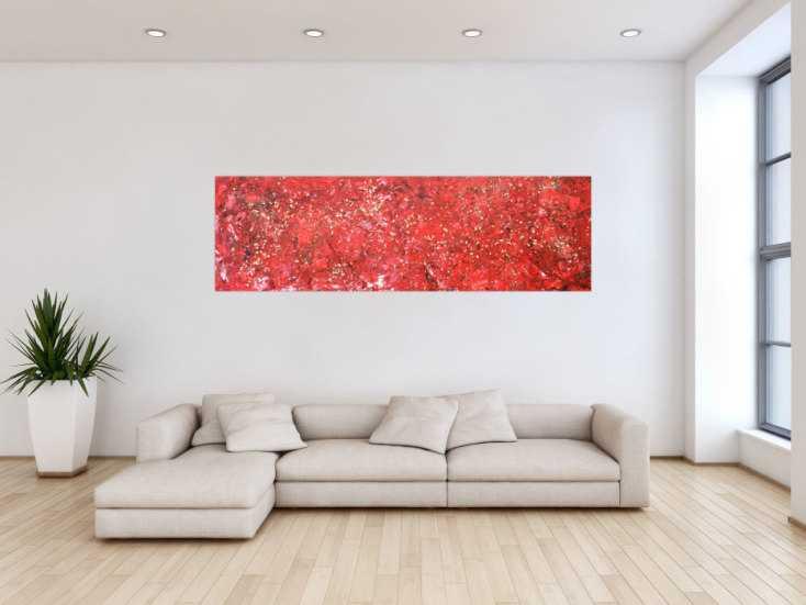 #1316 Abstraktes Acrylbild rot und gold sehr modern zeitgenössisch modern 60x200cm von Alex Zerr