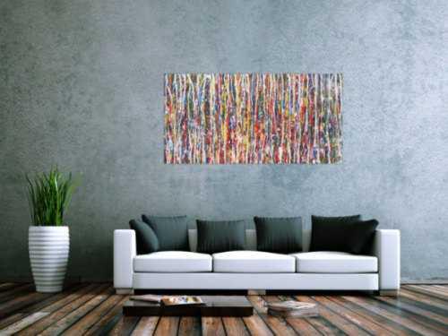 Abstraktes Acrylbild sehr bunt Action Painting zeitgenössisch modern