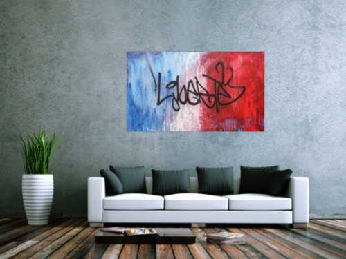 Abstraktes Acrylbild zeitgenössisch Action Painting Graffiti Tag Art Spray