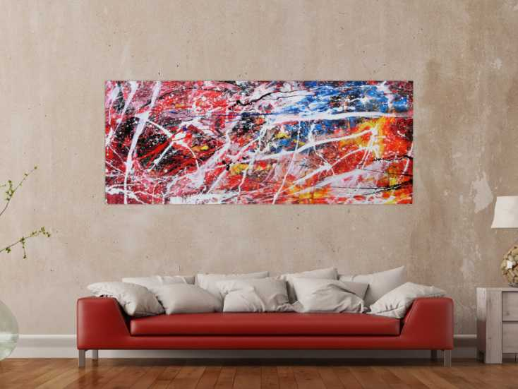 abstraktes acrylbild bunt modern auf leinwand 80x200cm. Black Bedroom Furniture Sets. Home Design Ideas