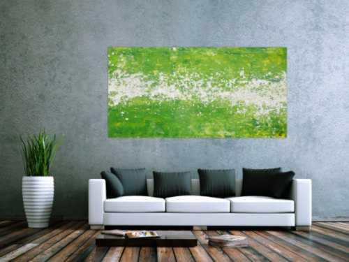 Abstraktes Acrylbild Action Painting grün weiß zeitgenössisch modern expressionistisch